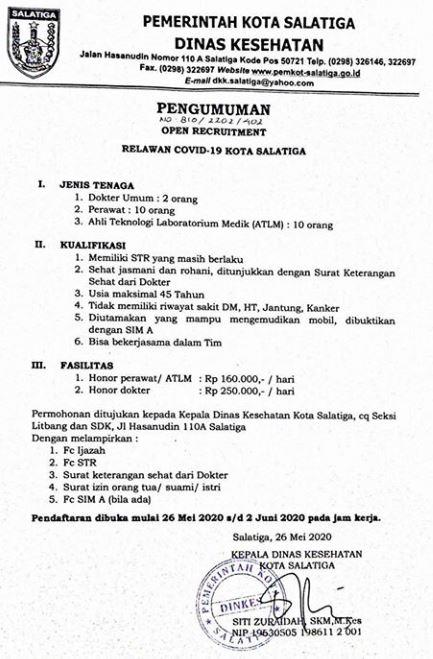 Rekrutmen Relawan Covid-19 Dinas Kesehatan Kota Salatiga