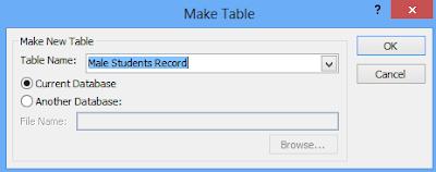 Make table dialogue box