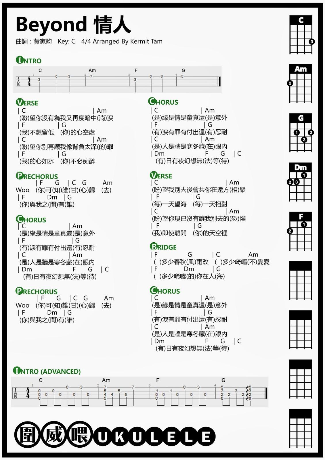 圍威喂 ukulele: Beyond 情人 [ukulele chord + Intro教學 + 彈唱教學]