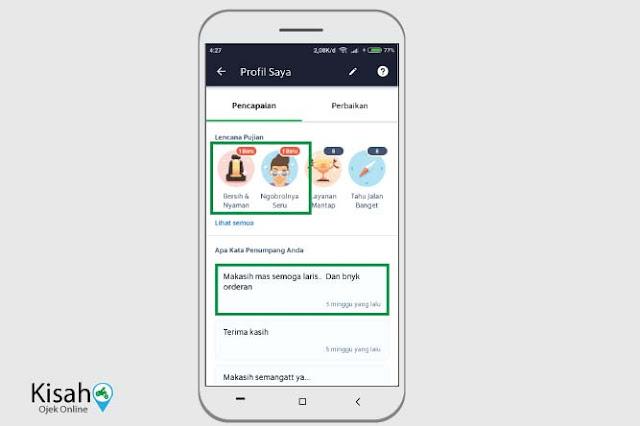 Fitur penilaian pelanggan di aplikasi Grab driver