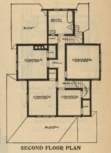 layout of rooms of second floor of Gordon-Van Tine Standard cut Home No. 115 1916 Standard Homes catalog