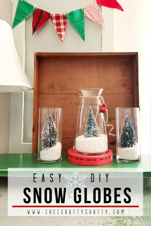 How to Easily Make DIY Snow Globes  |  make these super cute snow globes for Christmas decor  She's Crafty  |