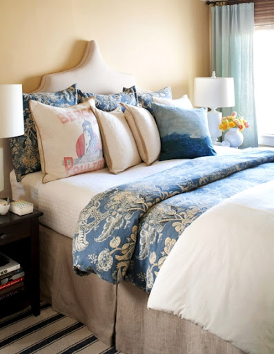 sand color and blue bedroom