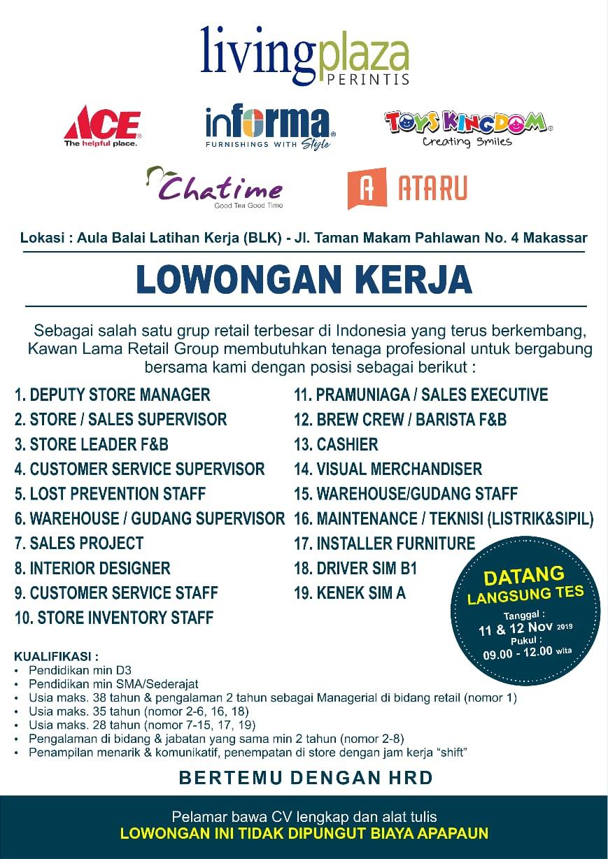 Lowongan Kerja Loker Sma Smk D3 S1 Kawan Lama Makassar November 2019