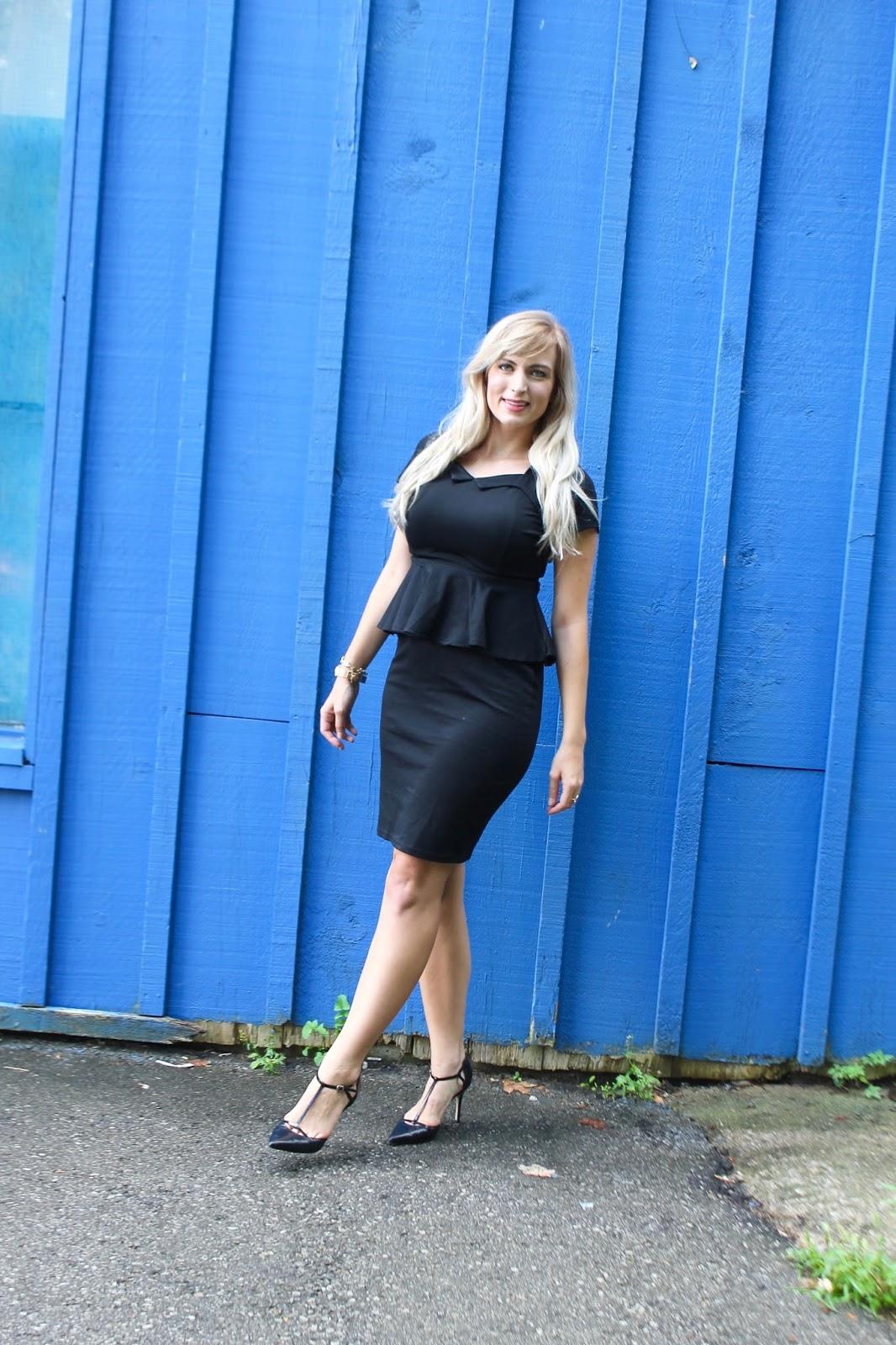 black sweetheart neckline office appropriate dress