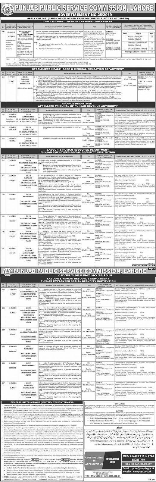 Punjab Public Service Commission PPSC Jobs Advertisement No. 25/2019 July 2019