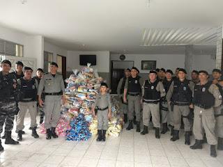 9º BPM realiza operação boas festas e distribui 2,2 toneladas de alimentos