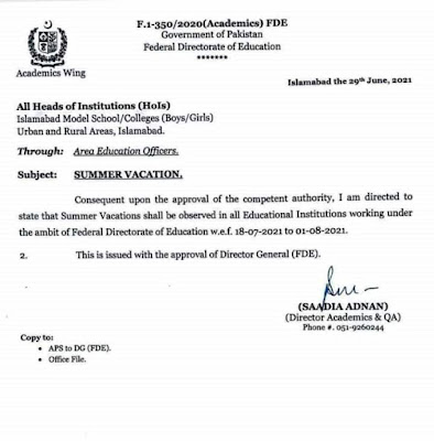 SUMMER VACATIONS IN EDUCATIONAL INSTITUTION OF FEDERAL DIRECTORATE OF EDUCATION