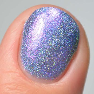 indigo holographic nail polish close up swatch