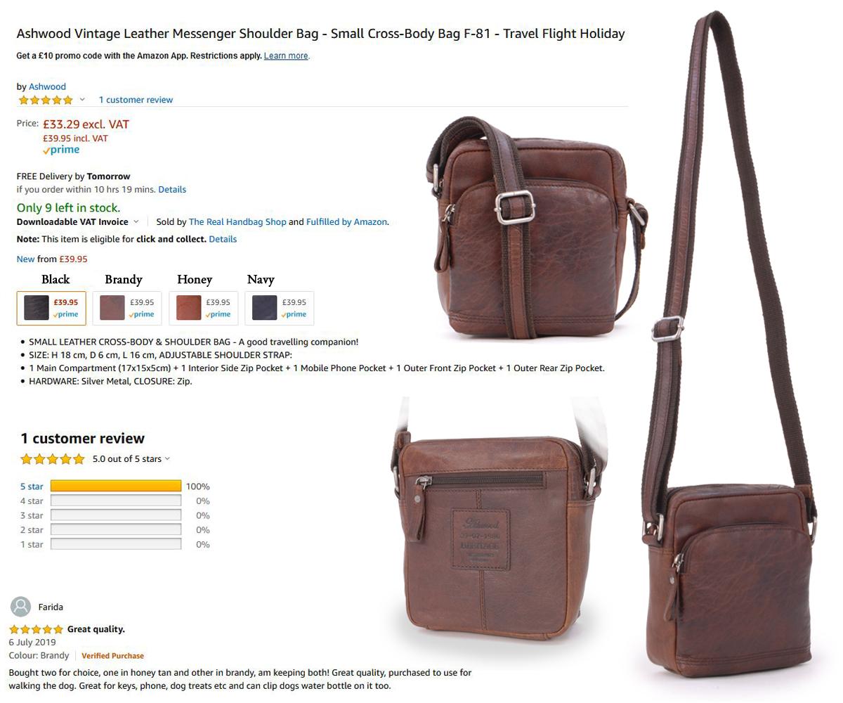 Shoulder Bag NEW ASHWOOD Small Cross Body Choice of Colour