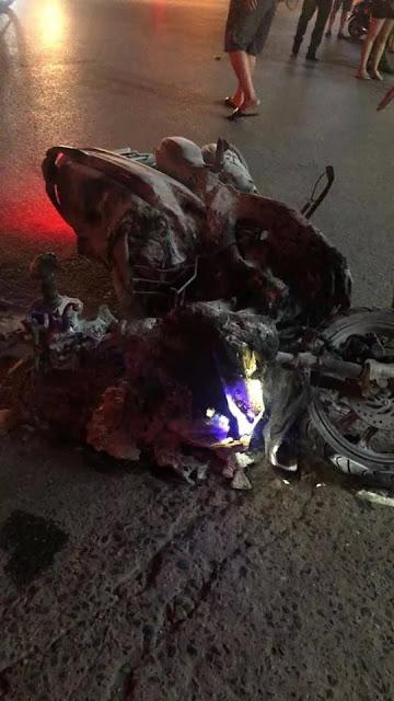 Một chiếc xe Vinfast lùi mất kiểm soát làm cháy cây xăng ở Hào Nam HN