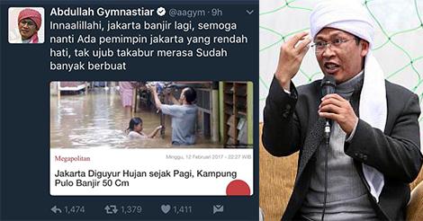 Telak Banget! Ini Pembalasan Netizen Pada AA Gym yang Dulu Saat Zaman Ahok Bilang Innalillahi Jakarta Banjir Lagi, Semoga Ada Pemimpin Rendah Hati.....