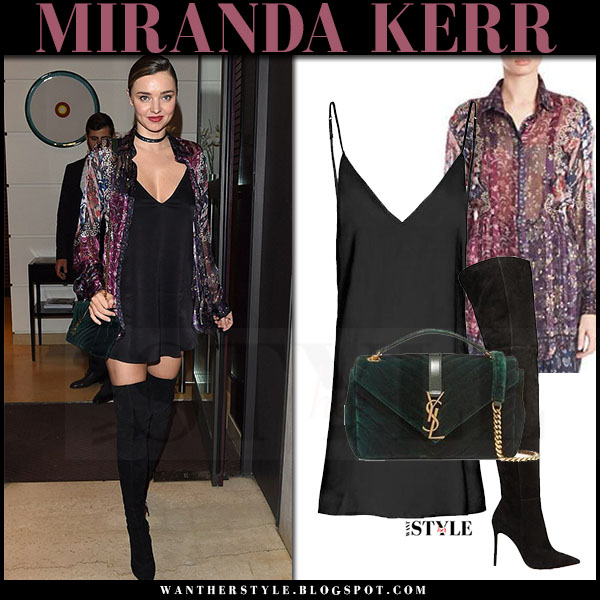 Miranda Kerr in purple floral print etro blouse, black silk mini dress are you am i zillah, green velvet saint laurent bag and black suede boots what she wore milan