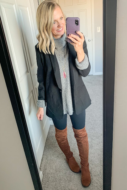 Blazer layered over gray turtleneck