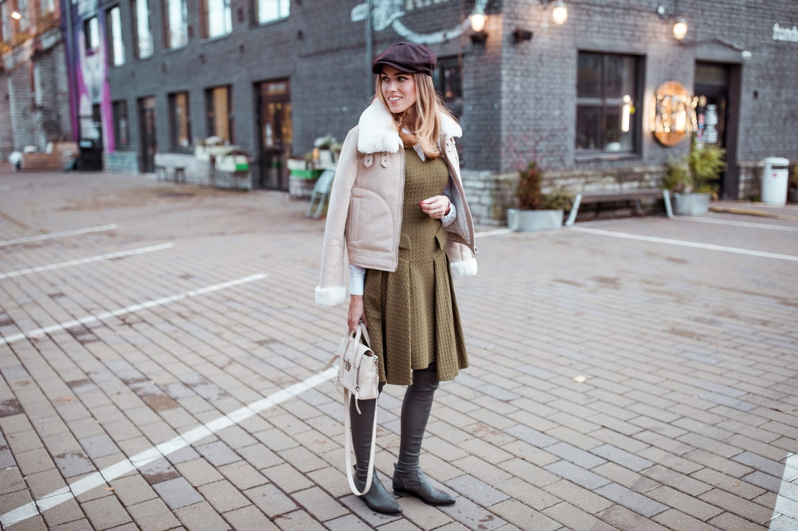 green fall outfit street style