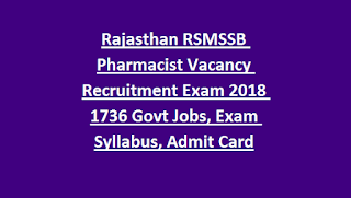 Rajasthan RSMSSB Pharmacist Vacancy Recruitment Exam Notification 2018 1736 Govt Jobs Online, Exam Syllabus, Admit Card