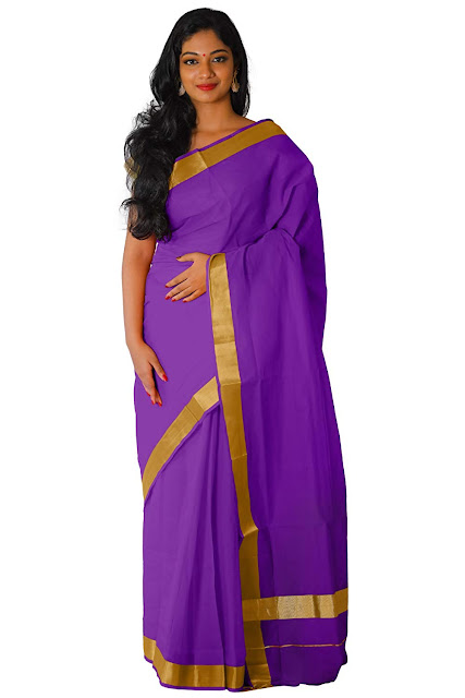 Southloom Kerala Traditional Violet Colour Kasavu Saree