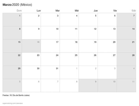 Calendario febrero 2020 clásico1 de méxico