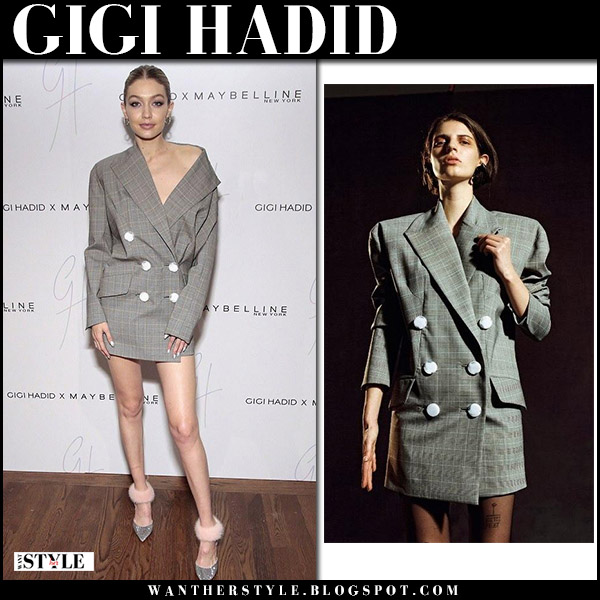 Gigi Hadid in grey checked mini dress carmen march at Maybelline launch november 3 2017 party fashion