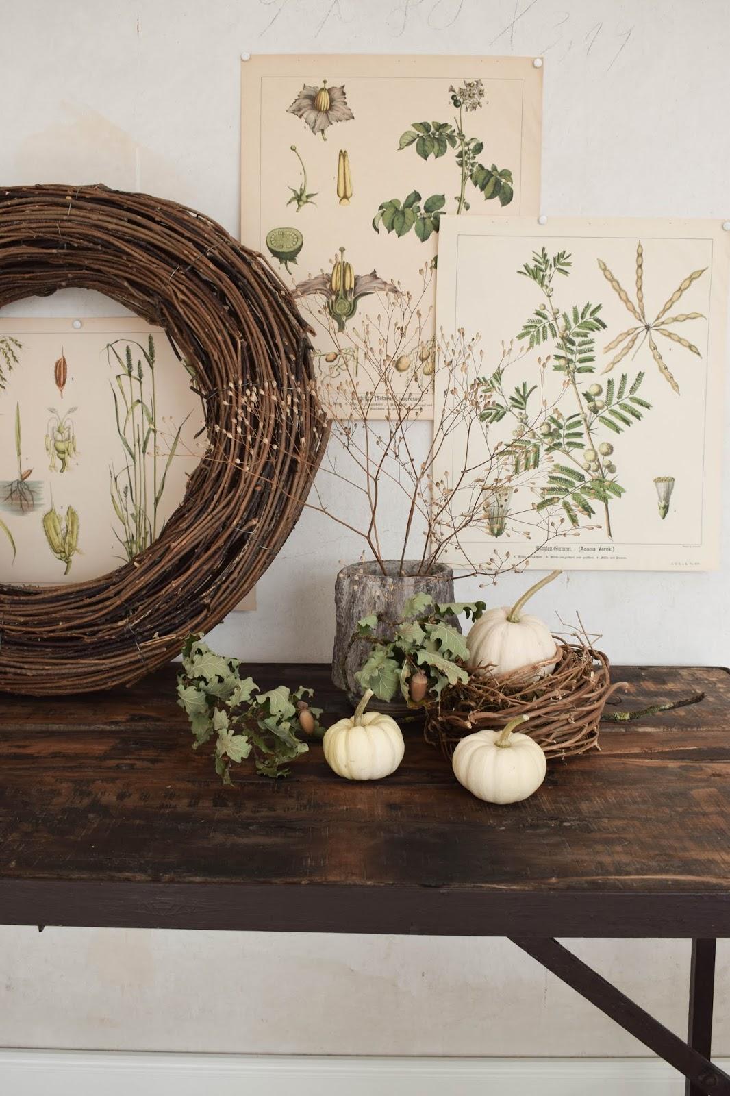 Herbstdeko für Konsole. Deko für den Herbst mit Kübrissen, Kränzen, Holz und botanischen Drucken. Dekoidee. Herbstlich dekorieren Wohnidee Sideboard Kürbis 7 Deko