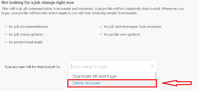 "Click on the ""Delete Account"" to delete your Naukri account permanently."