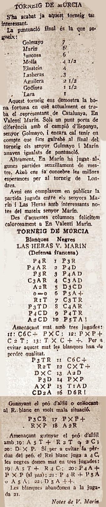 Torneo Nacional de Ajedrez Murcia-1927 - Recorte de La Publicidad, 27/4/1927