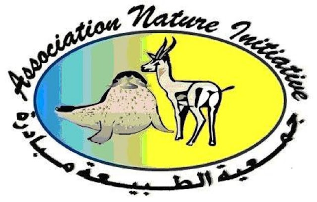 The logo of the Association Nature Initiative featuring the Mediterranean Monk Seal (Monachus monachus) and Mhorr Gazelle (Nanger dama mhorr), two emblematic species of the region.