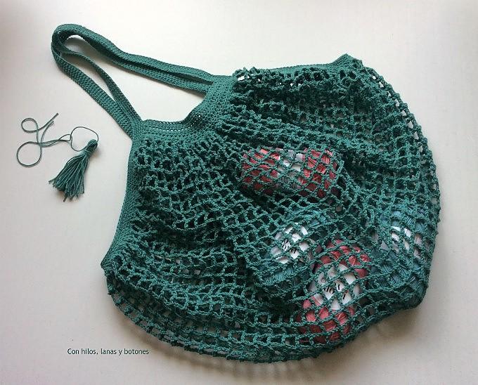 Con hilos, lanas y botones: French Market Bag