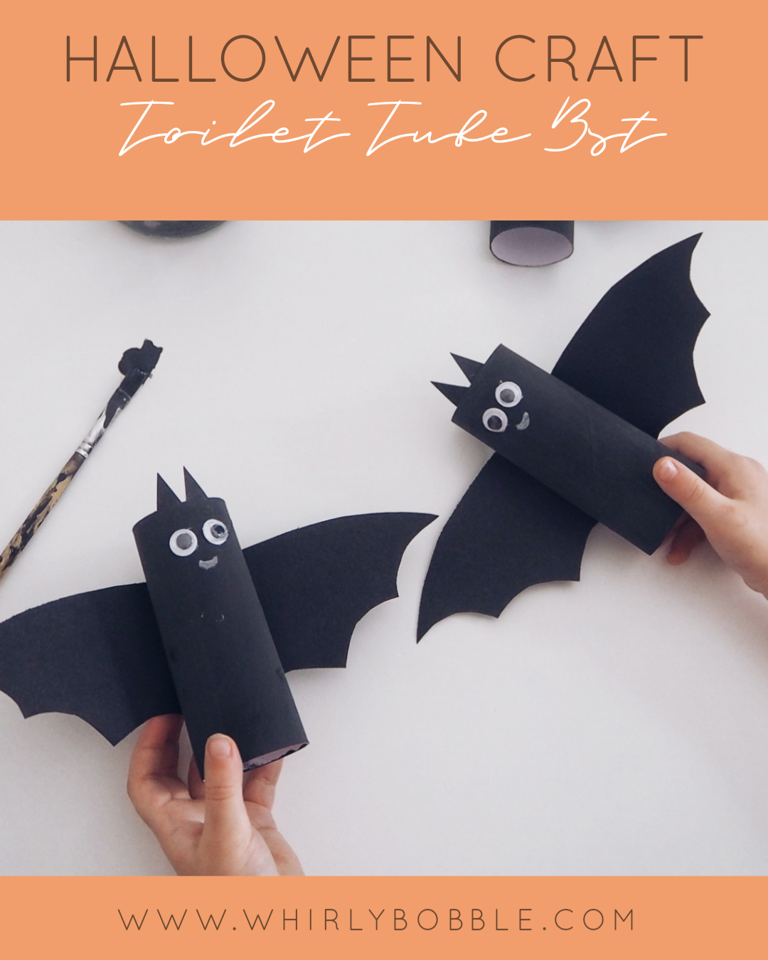 Halloween craft toilet tube bats