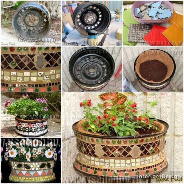 DIY Mosaic Flower Pot .. Using A Rim