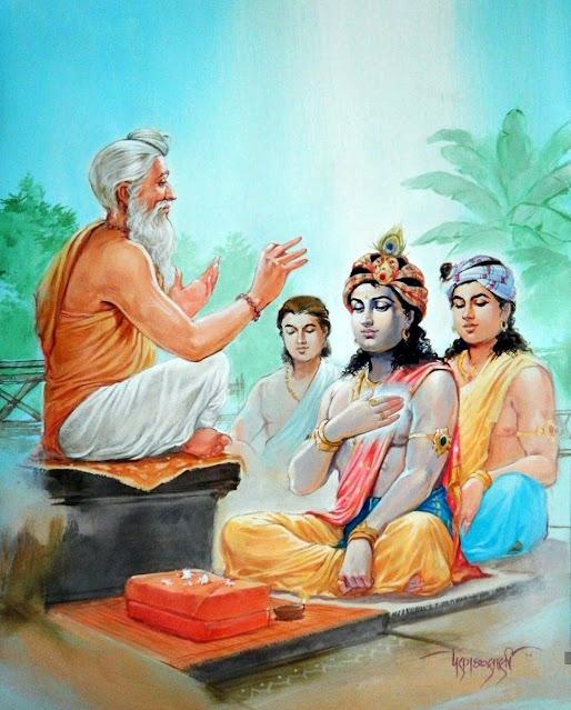 Sandipani muni Krishna and Balarama