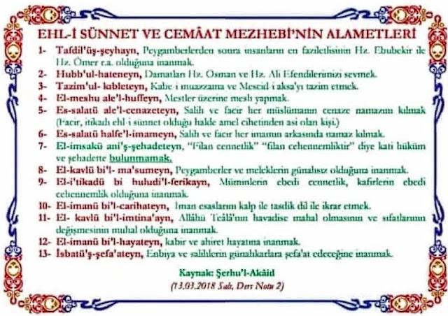 Ehl-i Sünnet ve'l Cemaât'in Alâmetleri