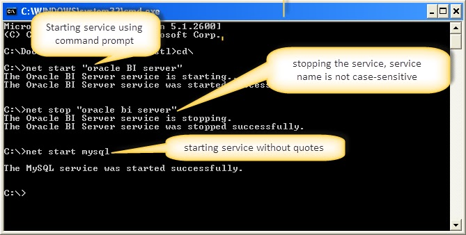 Start & Stop BI Services in Command Prompt