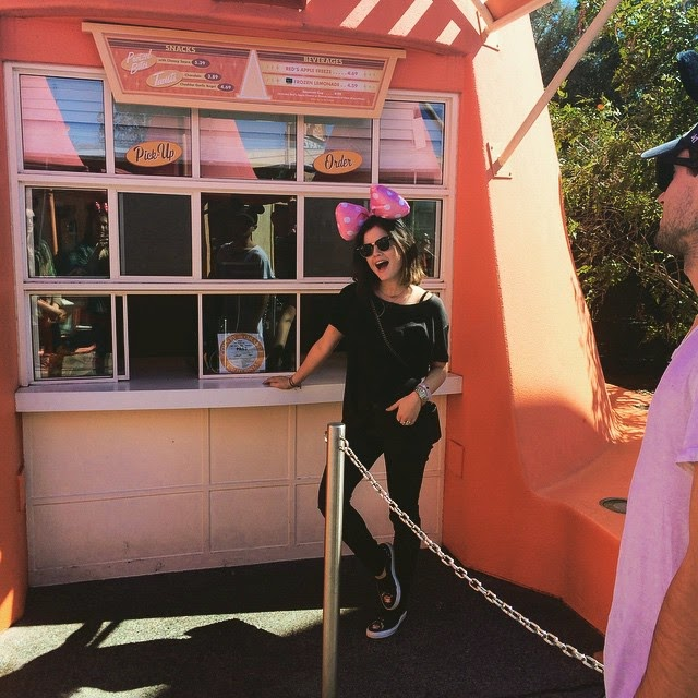 Lucy Hale at Disneyland Minnie Mouse Bow