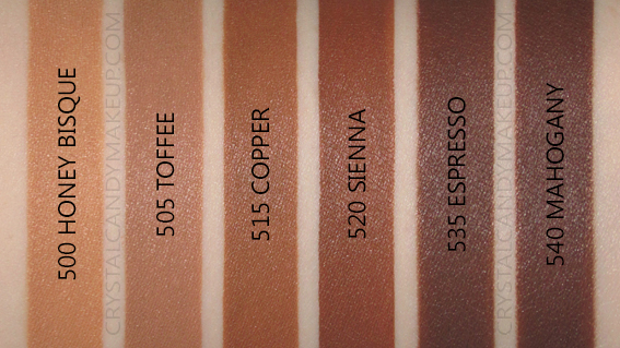 L'Oreal Fresh Wear Foundation Swatches 500 505 515 520 535 540 MAC NC42 NW42 NW45 NW50 NW55