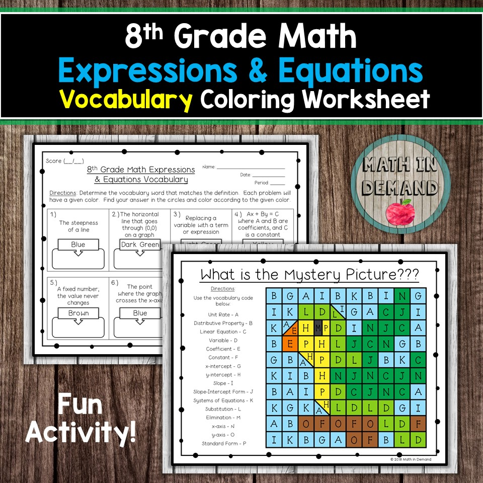 small resolution of 8th Grade Math Vocabulary Coloring Worksheets