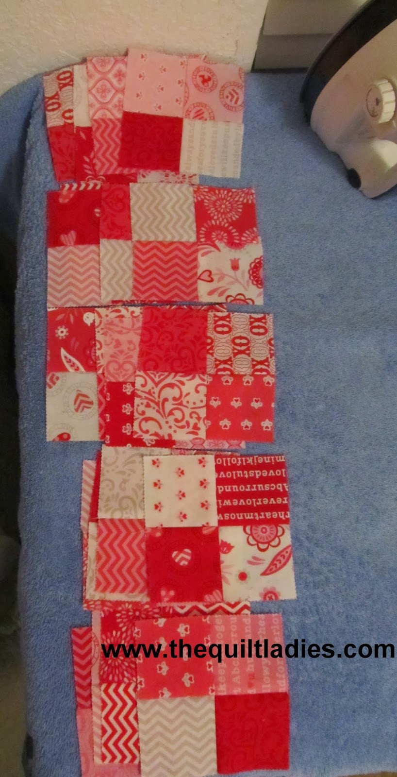 red and white four patch quilt blocks