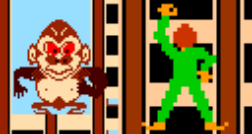 Composite image from the 1980 arcade game, Crazy Climber, demonstrating a horizontal offset between the sprites and the tilemap.  It shows both the climber and an ape.