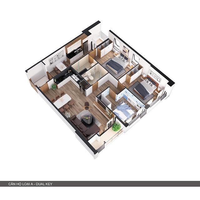 Phối cảnh 3D căn hộ loại A 2 trong 1 có 3 phòng ngủ + 2 bếp