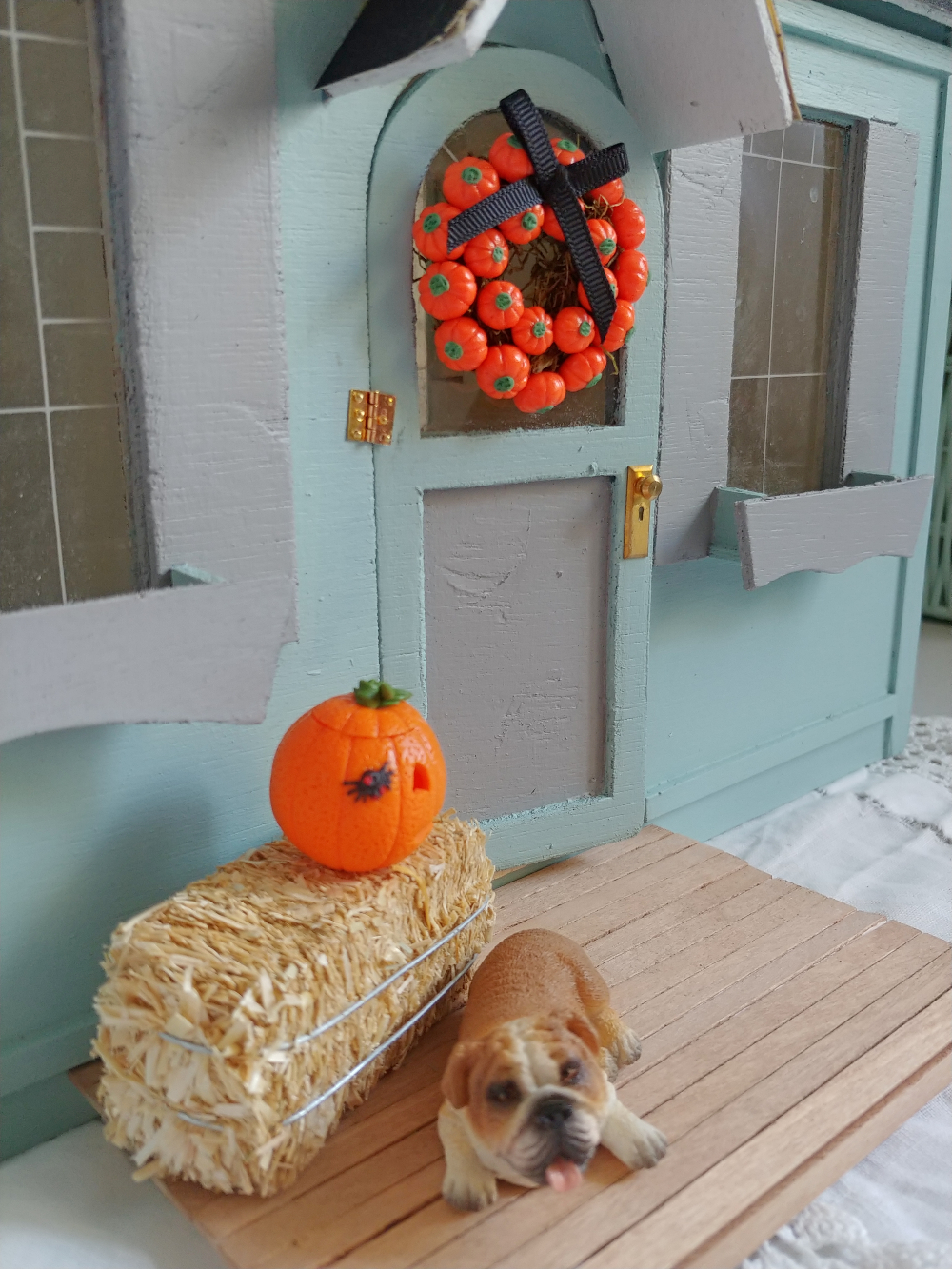 fall decorated miniature porch