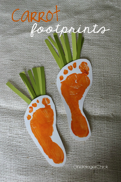 Easter bunny carrot footprint craft idea for kids