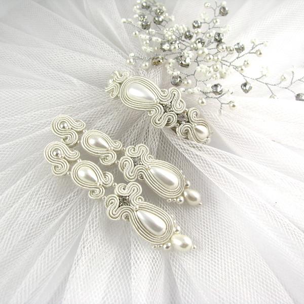 Soutache slubny komplet ivory z perłami