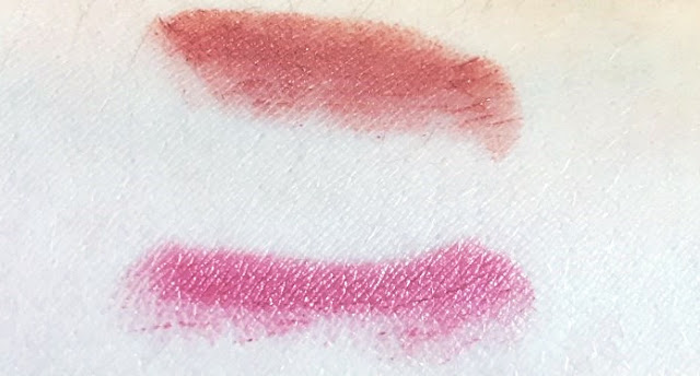Swatches of MAC Velvet Teddy and Brave
