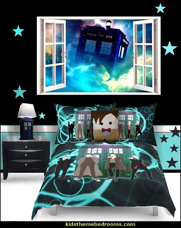 dr who bedroom dr who tardis wall decal Doctor Who bedding Doctor Who pillows Tardis table lamp