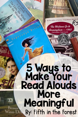 """Pin Image Title """"5 Ways to Make Read Alouds More Meaningful"""" along with a pile of books at a middle grades level"""