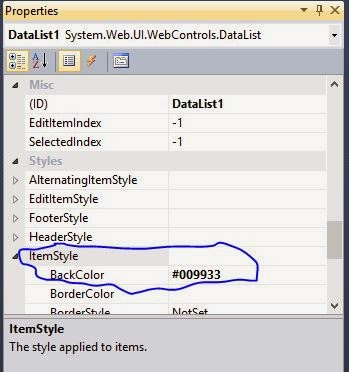 DataList ItemStyle property example in ASP.NET
