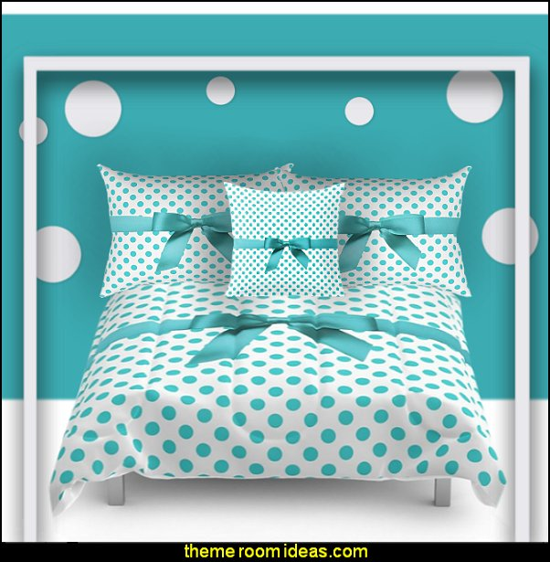 Blue Tiffany Polkadot Comforters and Duvets  polka dot bedroom decorating ideas - polka dot wall decals -  polka dot bedroom theme - bedroom circles - polka dots decor  - polka dot wall murals - polka dot bedding - Polka Dot decals - polka dot walls -