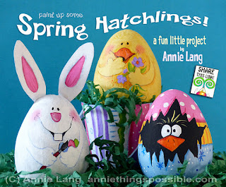 Annie Lang's free painted egg project includes patterns and instructions to make a bunny, chick and peeper.