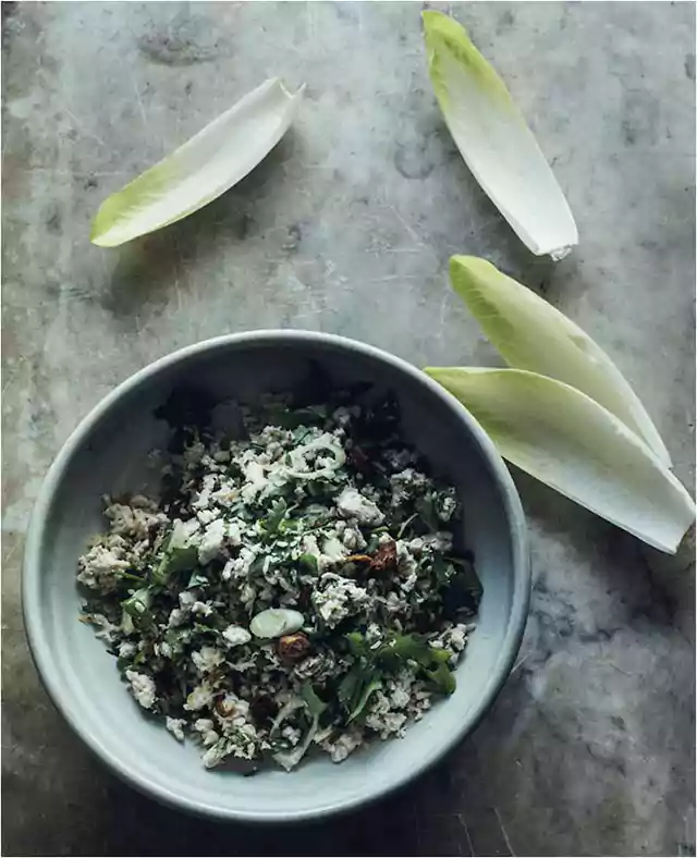 Minted coconut and chicken larb with crisp witlof
