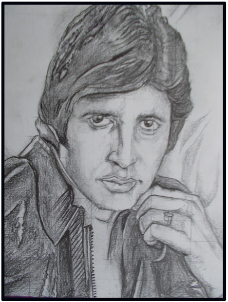 Pencil Sketches Face Scratches Art & Paintings Amitabh Bachchan